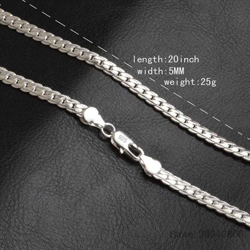 Hot Sales 925 Silver Necklace Charm Woman Man 50cm Silver 6MM Full Sideways Necklace Fashion Brand Jewelry