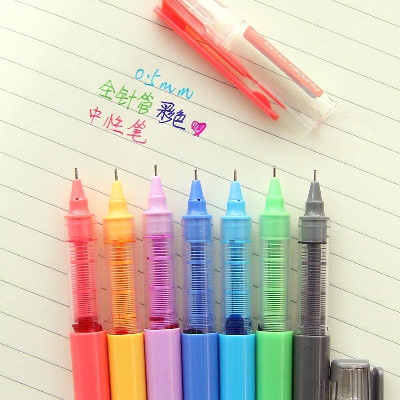 7 color ink gel pen Rainbow Roller ballpen 0.5mm ballpoint Ss