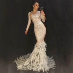 Блестящие со стразами AB перо длинное платье блестят Полный Кристалл Большой этаж Хвост Платье сценический костюм для выпускного день