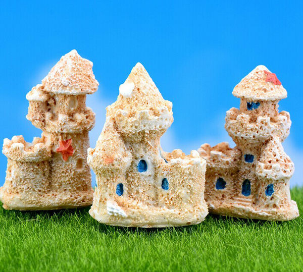 3pcs Mini Sand Castle Miniature Dollhouse fairy garden decor Beach ...