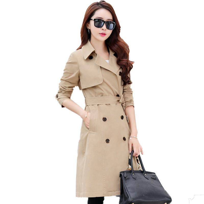 Women 2019 Spring Autumn Classic Double-Breasted Mid-long   Trench   Coat Female Elegant Slim Thin Coat Casual Solid Windbreaker L64