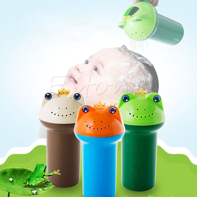 3 Colors Kids Cartoon Frog Bathing Baby Shower Shampoo Cup Bailer Baby Shower Water Spoon Bath Wash Cup