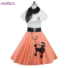 2018 Abbigliamento Donna Pin UP Abiti Estate Stampa Puppy Retro Casual Partito Abito Rockabilly 50 s 60 s Abiti D'epoca sciarpe(China)