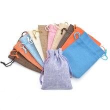 50pcs Colorful Wedding Favor Christmas Hessian Burlap Jute Gift Bags 7X9 9X12 10X14 13X18CM Double Drawstring Pouch Home Decor