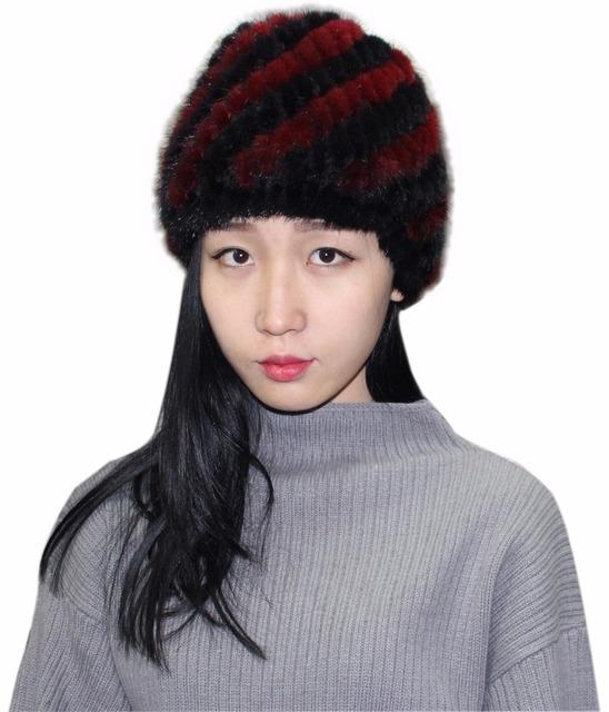Pele real Free shopping das mulheres mornas do inverno real fur mulheres inverno quente cap chapéu de pele de vison mulheres inverno
