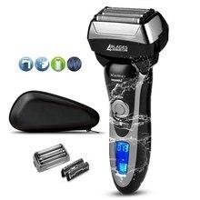 Afeitadora profesional de 4 hojas para hombre, Afeitadora eléctrica recargable para Barba y cara, máquina de afeitar + bolsa de viaje