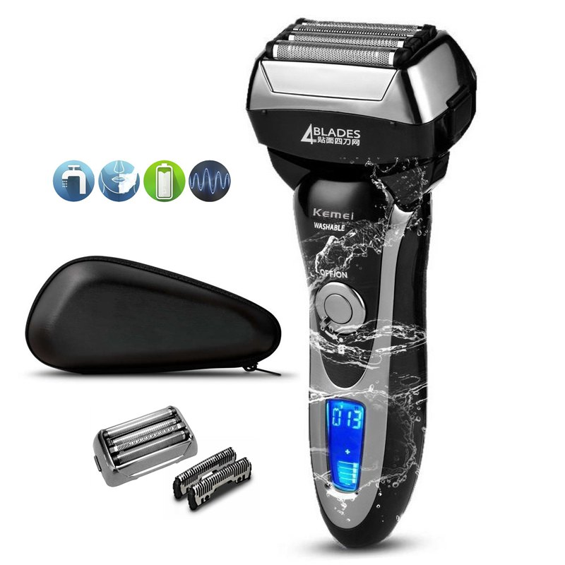 Men's professional 4 blade shaver rechargeable electric shaver for men beard face electric razor shaving machine+travel bag-in Electric Shavers from Home Appliances