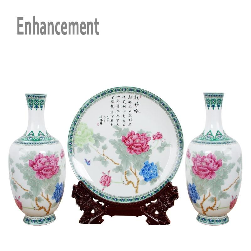Neue Ankunft Antike Jingdezhen Keramik Vase Platet Set Klassische - Wohnkultur - Foto 3