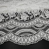 Off white heavy Water soluble lace fabric milk silk 3D hollow embroidery lace fabric bridal fabric lace