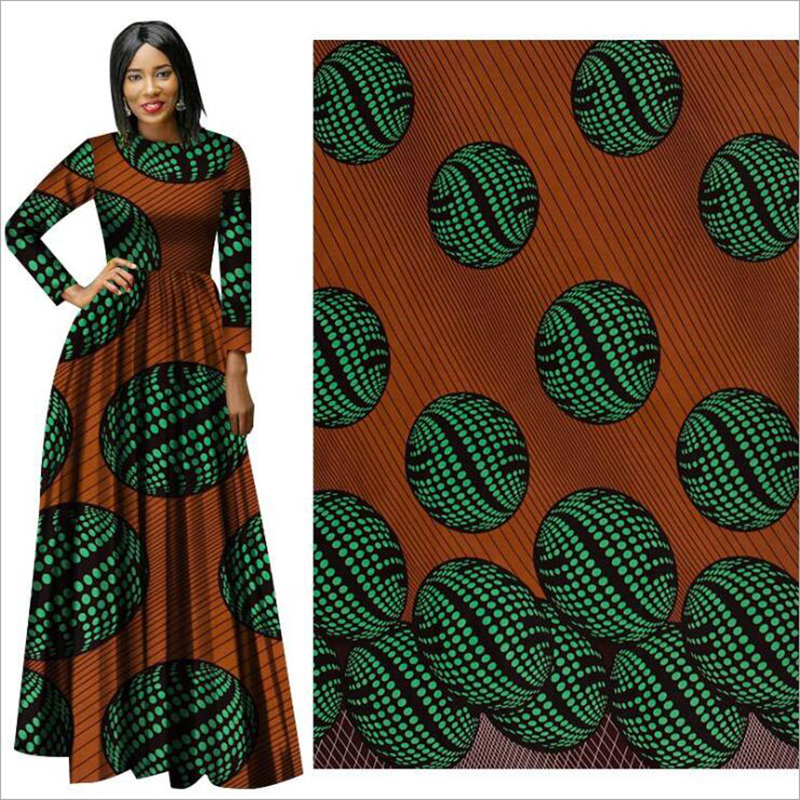 Me-dusa 2019 new brown green African Print Wax Fabric 100% cotton Hollandais Wax DIY Dress Suit cloth 6yards/pcs High quility(China)