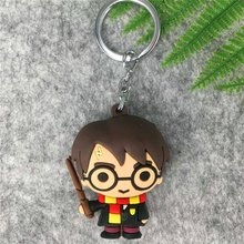 3D Harry Potter PVC Keychain Toy Dobby Hermione Granger Malfoy Ron Weasley Snap Action Figure Toys Party Cosplay PVC Key Ring