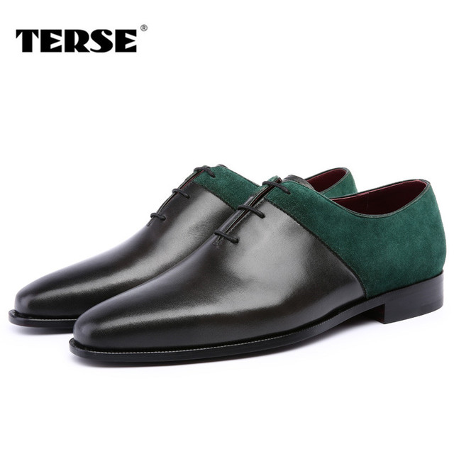 TERSE_Hot sale mens fashion dress shoes handmade Italian genuine leather oxfords in green/ burgundy formal shoes T81390N0011