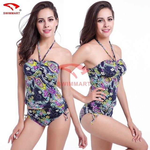 f15733bda40 Plus Size 2pc Set Women Halter Tankini Swimsuit Vintage Flower Print Beach  Swim Shorts Swimwear