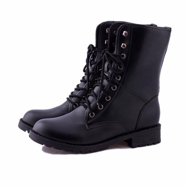 Ayakkabı kadın sandalsWomen Erkekler Lace Up Düz Biker Askeri Ordu Savaş siyah çizmeler Ayakkabı platformu bot