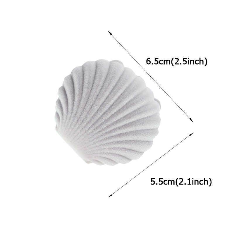 1 ชิ้น LOVELY SHELL Shape กำมะหยี่กล่องเครื่องประดับหมั้นแหวนกล่องสำหรับต่างหูสร้อยคอสร้อยข้อมือจอแสดงผลของขวัญกล่อง
