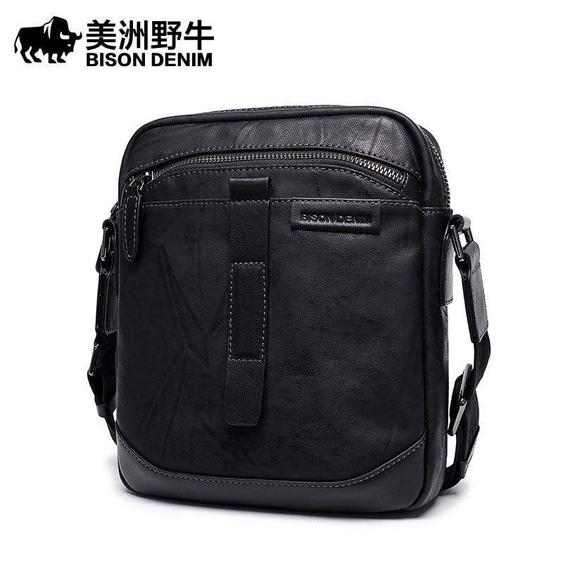 Brand BISON DENIM Handbag Men Leather Shoulder Bags Business Travel Crossbody Bag Tote Bag New Men's Messenger Bag Frre Ship