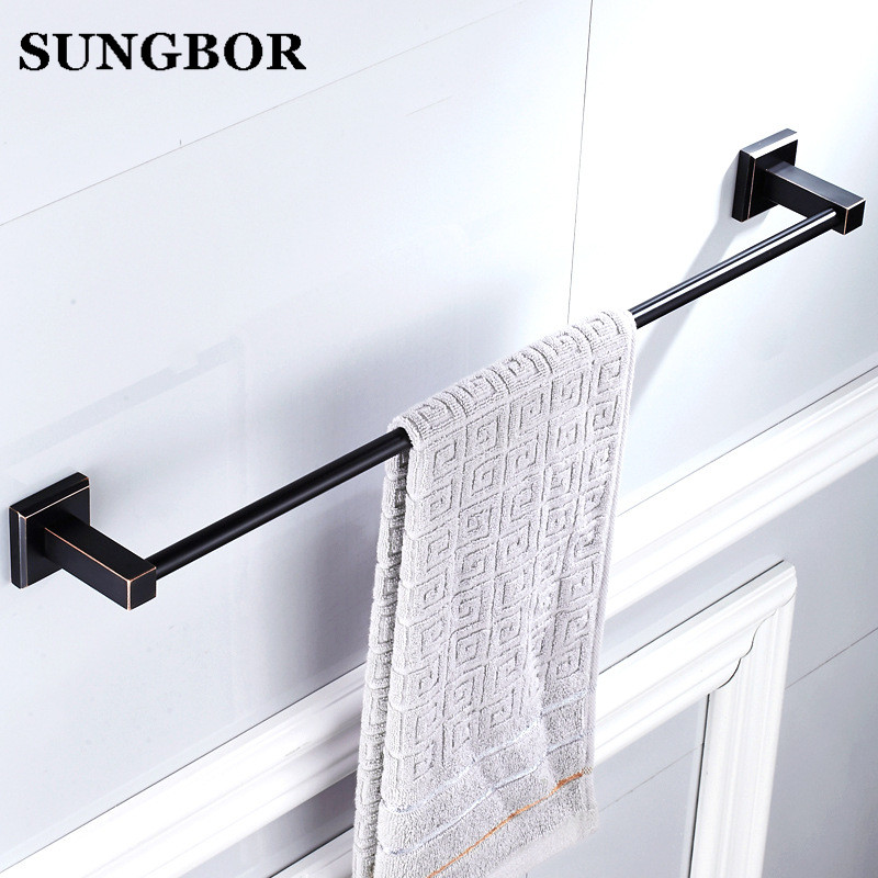 High Quality Black Oil Nickle Towel Hanger wall mounted 24 inch Single Towel Bar/Towel Holder Bathroom accessories Towel Rail цена