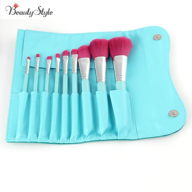 Pro Cor Azul 9 Pcs Pincéis de Maquiagem Ferramentas de Cosméticos Da Sombra Pincel Delineador em pó Maquiagem Conjunto de Pincel de Blush Kit & Saco Macio caso