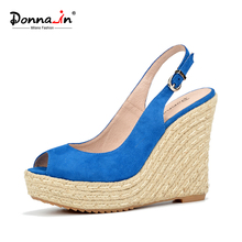 Donna-in summer open toe sandals blue sheepskin suede rope wedge ladies sandals