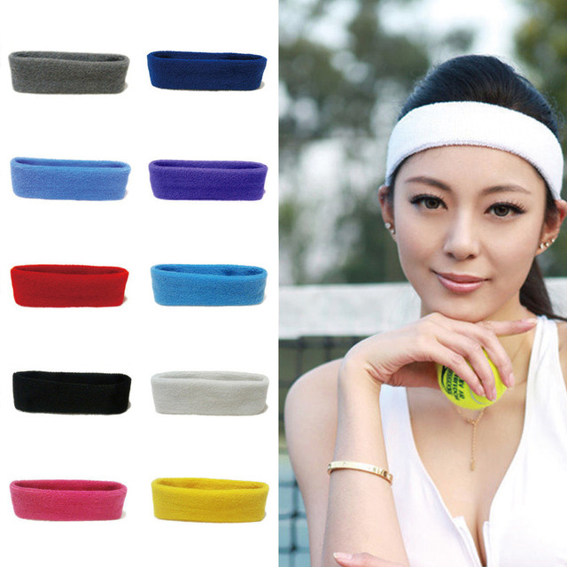 Women/Men Cotton Sweat Sweatband Headband Yoga Gym Stretch Head Band For Sport Belts Elasticity Sweat Bands Sports Safety