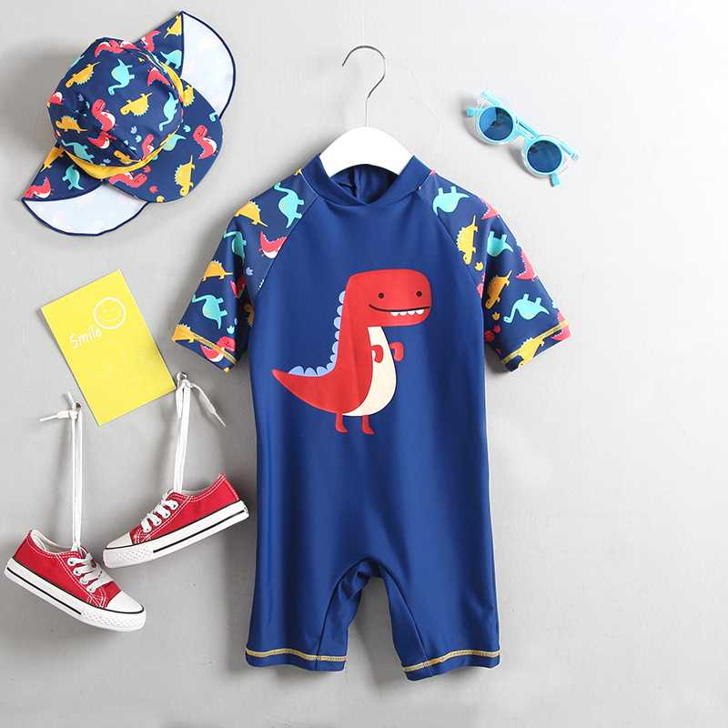 Baby Jungen Bademode UV Schützen Infant Kinder Badeanzug für Jungen Shark Dinosaurier Anker Kurzarm Ein Stück kinder badeanzug