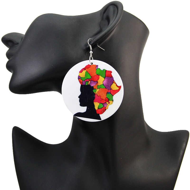 SOMESOOR בציר עגילי אפריקאי עץ תכשיטי מודפס משכיל טבעי רויאל האפרו שיער ליידי Locs חישוקי דפוס עבור נשים 6 זוגות