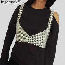Seksowna luksusowa pełna imitacja perły biustonosz Bikini łańcuszek naszyjnik kobiety ślub koreański Bohemia Handmade brzuch talia łańcuch niewolnik biżuteria
