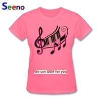Tshirts Femme Short Sleeve Darr Music Notes T Shirts Women S 100 Cotton Cute Girl Tee