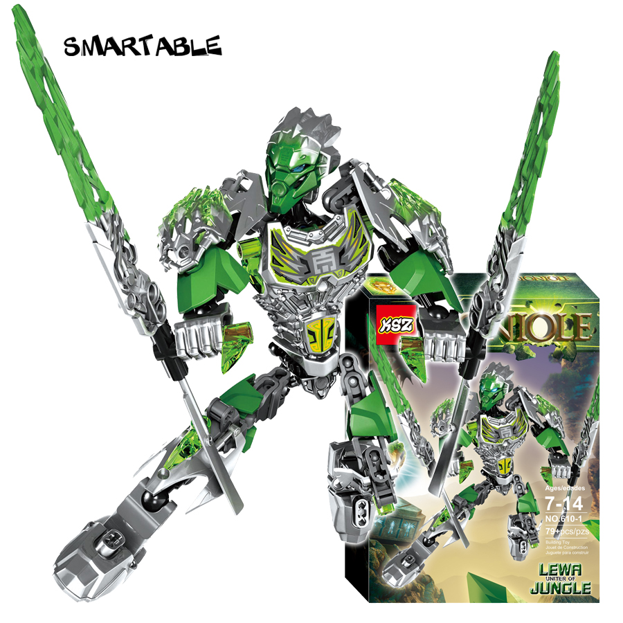 Smartable BIONICLE 79pcs Lewa Jungle Keeper figures 610 1 Building Block font b toys b font