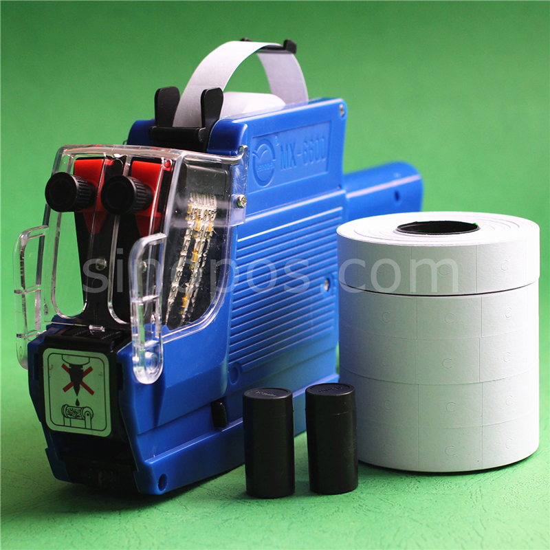 Two Line Price Label Gun Kit, Manual Pricing Labeller + Double Lines Labels + Ink Rollers, Batch Date Coding Labeler Applicator