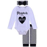 R112 Wholesale Europe and America Fashion autumn children's clotheslong Bodysuit + long socks+Headwear female Baby Clothes Set