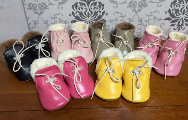 wholesale 20 lot colors genuine leather baby moccasins winter fur lace up shoes toddler prewalker soft sole first walker bulk