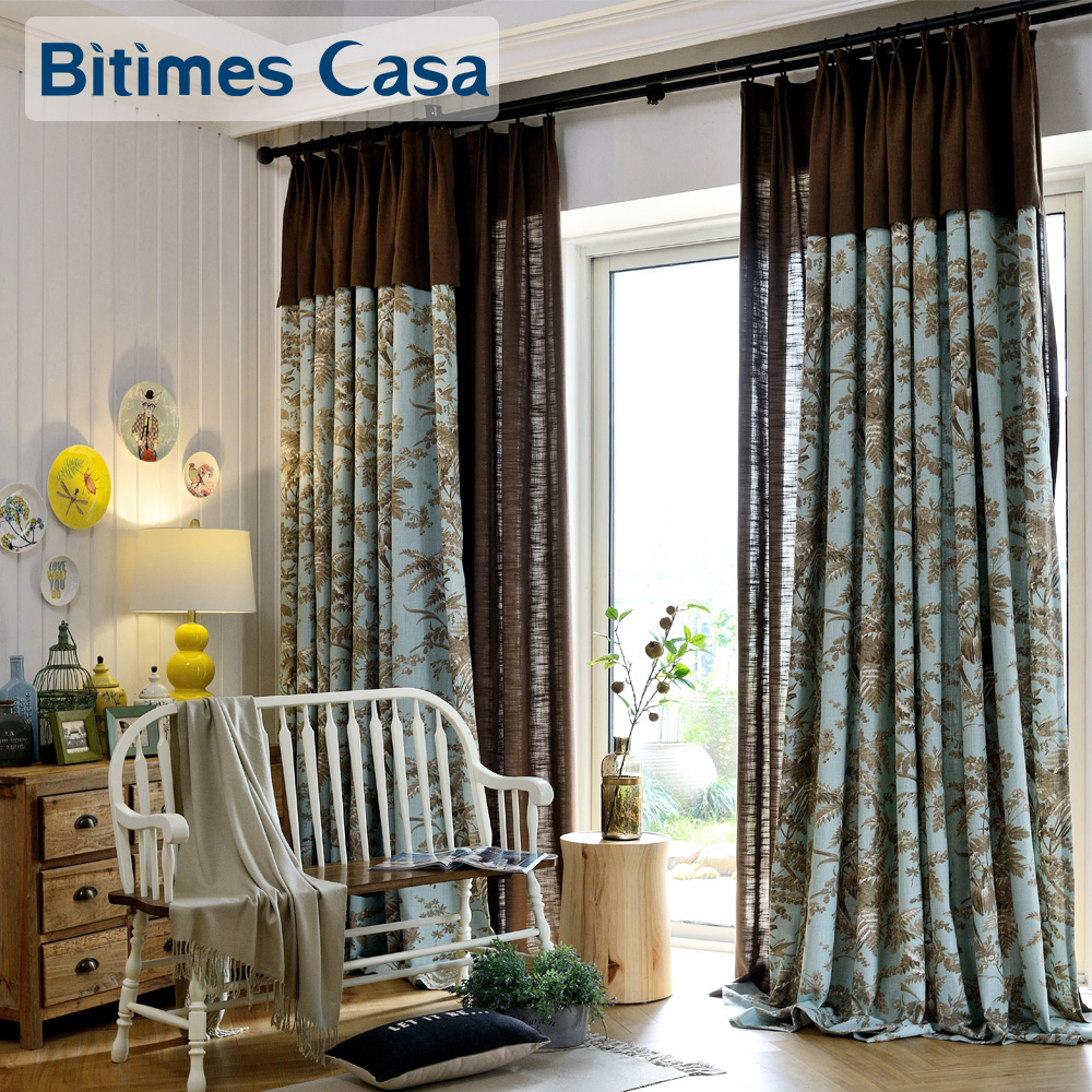 awesome light green living room curtains   Flower Tree And Bird Printing Window Curtain Drapes Light ...
