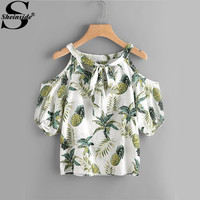 Sheinside Jungle Print Tops Pineapple Beach Blouse 2017 Tie Front Women Cute Tunic Summer Tops Open Shoulder Casual Cut Blouse