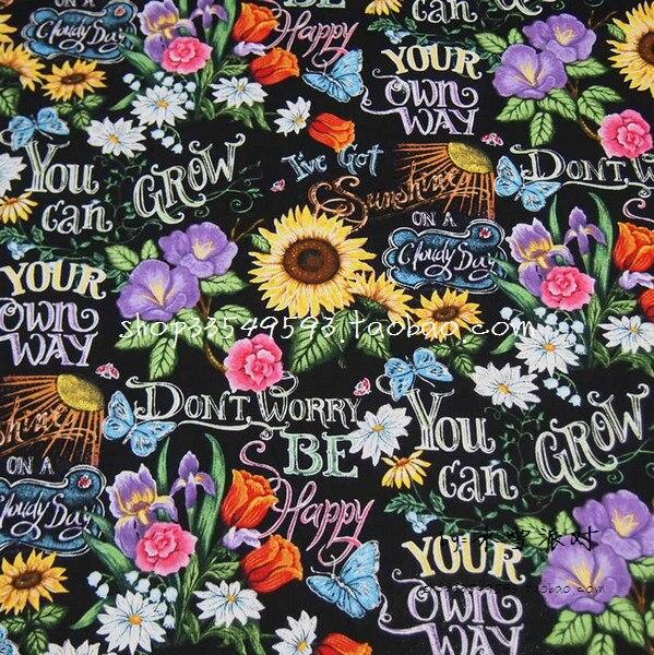 100X105 cm I have Sunshine tableau noir dessin tissu de coton noir pour fille jupes housse de coussin rideau couture DIY-AFCK816