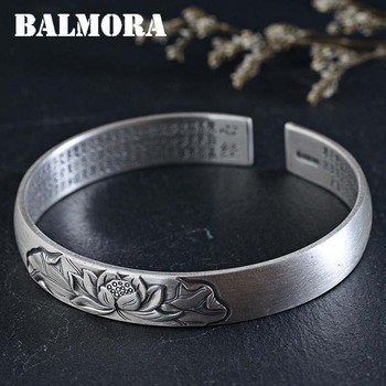 BALMORA 990 Pure Silver Lotus Flower Open Bangles for Women Men Gift Buddhistic Heart Sutra Jewelry about 18cm Bracelet WBH0158