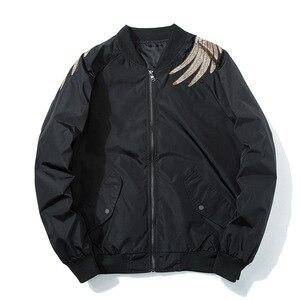 Image 3 - Primavera piloto bombardeiro jaqueta masculina feminino pássaro bordado jaqueta de beisebol moda casual jovens casais casaco japão streetwear