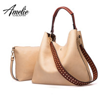 AMELIE GALANTI Women Leather Hobo Bag Set Casual Tote Bags Composite Handbag Wallets Large Capacity 2 Bags in 1 Women Purses(China)