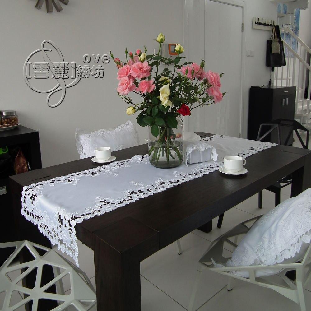 Деревенский ткань вышивка обеденный стол скатертью коврик Кофе столбец вырез крышки полотенце белая роза