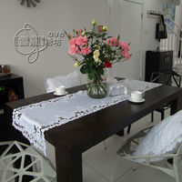 Rustic cloth embroidery dining table cloth table mat coffee table runner cutout cover towel white rose