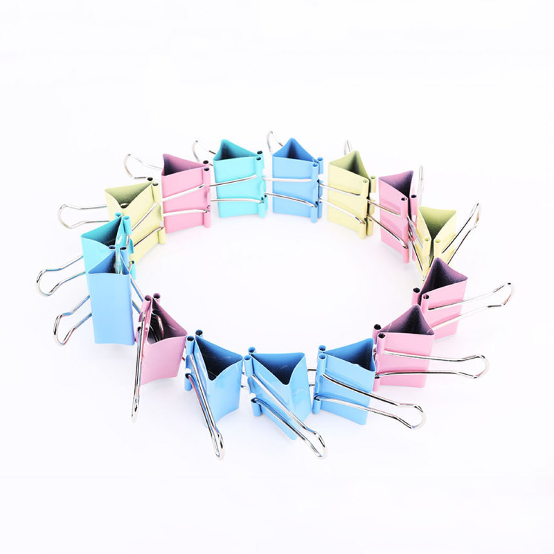 60 Pcs/lot 15mm Colorful Metal Binder Clips Notes Letter Paper Clips Office Stationery Binding Supplies Paper Clamp Clips