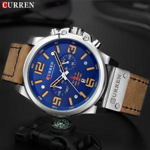 Image 1 - CURREN New Mens Watches Top Brand Men Military Sport Wristwatch Male Leather Chronograph Quartz Clock Relogio Masculino