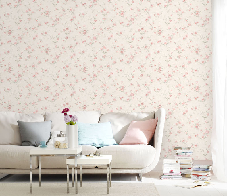 pink wallpaper bedroom pastoral style pink flowers wallpaper bedroom 12893