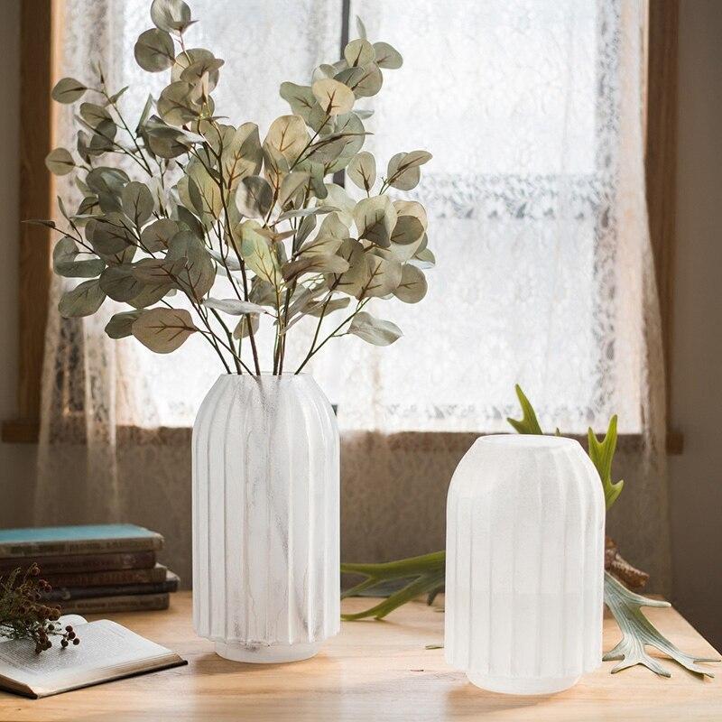 Ваза украшения дома в европейском стиле стеклянной столешницей вазы для цветов Свадебные украшения ручной работы белый Измельчить Большие...