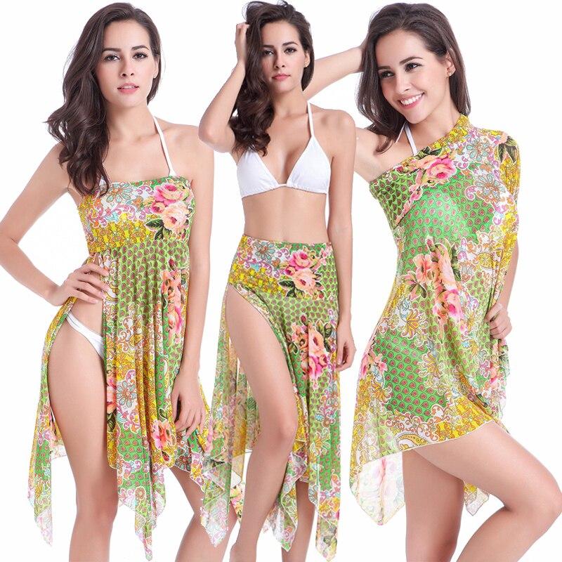 Tři v jednom Mult způsobem Bikini zakrývají Beach Home Street Bez ramínek Beachwear šaty Nekonečné kabriolet plážové plavky