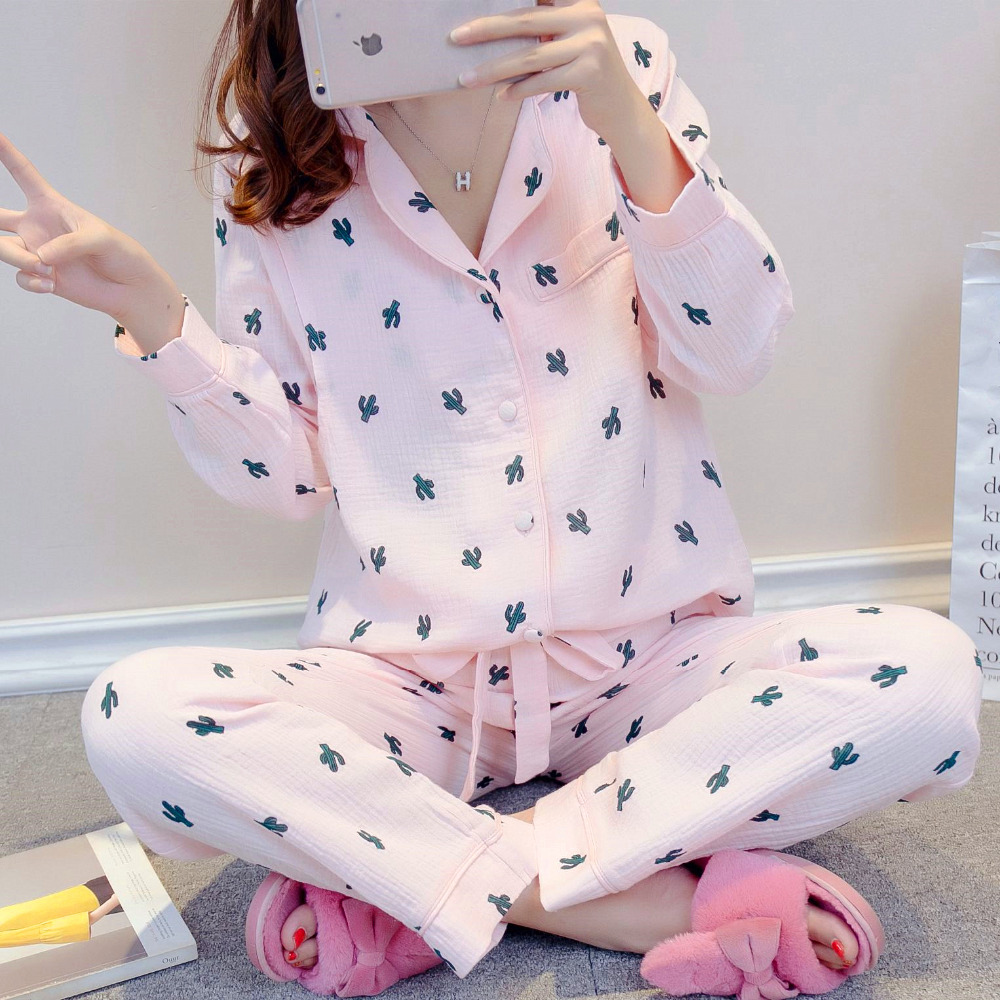 Nursing Nightgown Maternity Pajamas Korean Pregnant Clothing Breastfeeding Pajamas Cotton Yarn Maternity Sleepwear Homewear A192