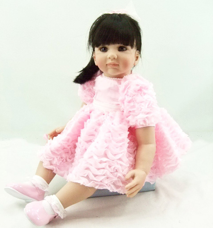 Pursue 24/60 cm Beautiful in Pink Handmade Silicone Reborn Princess Girl Baby Doll Doll Toys for Children Girl Birthday Gifts handmade beautiful in pink dress soft cloth body reborn silicone toddler girl baby alive doll toys for children girls birthday