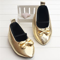 Amazing Gold Pointed Baby Girl Shoes Newborn Infant Toddler PU Leather Baby Moccasins First Walkers Sapato Baby 2016 Autumn
