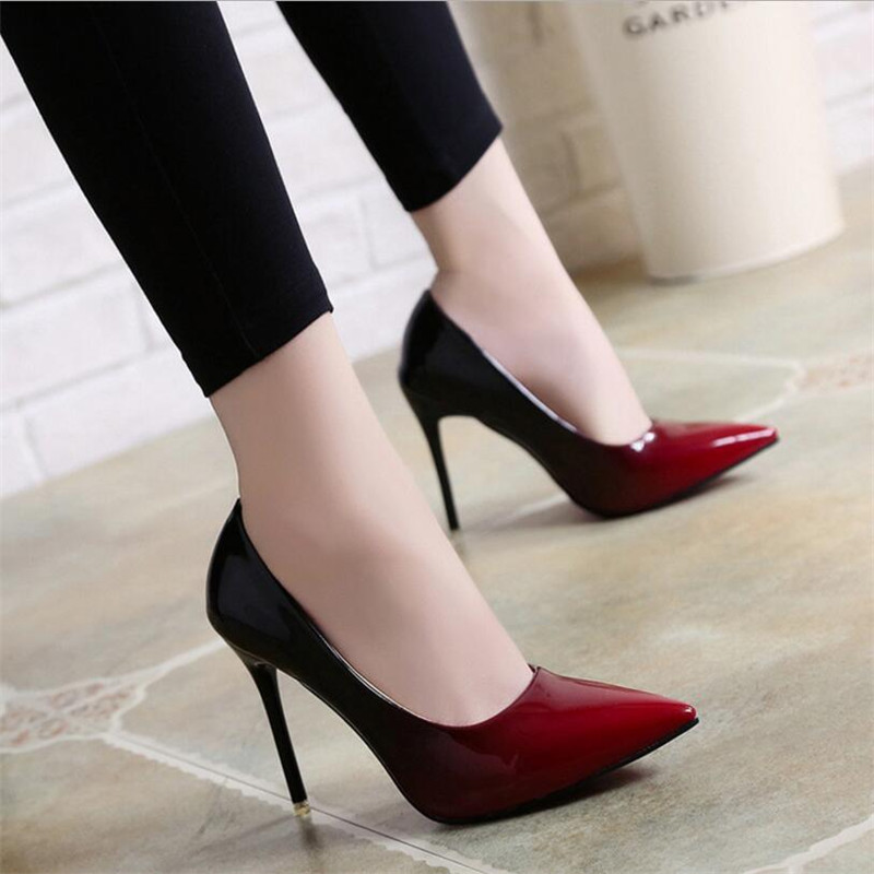 2019 Shadow Women Shoes Pointed Toe Pumps Patent Leather Dress Wine Red 10CM High Heels Boat Shoes Wedding Shoes Zapatos Mujer
