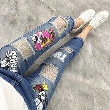 2016 летом женские большой размер светло-голубой джинсы свободные эластичные джинсы отверстие мультипликационный персонаж Брюки XL-XXXXXL